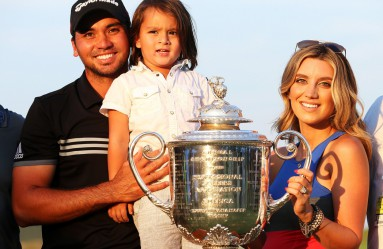 SHEBOYGAN, WI - AUGUST 16: Jason Day of Australia poses with the Wanamaker trophy and his wife Ellie and son Dash after winning the 2015 PGA Championship with a score of 20-under par at Whistling Straits on August 16, 2015 in Sheboygan, Wisconsin.   Andrew Redington, Image: 255765261, License: Rights-managed, Restrictions: , Model Release: no, Credit line: Profimedia, AFP