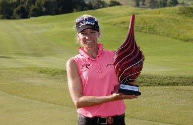 PRATTVILLE, AL - AUGUST 30: Kris Tamulis poses with the winner's trophy after winning the Yokohama Tire LPGA Classic at the Robert Trent Jones Golf Trail at Capitol Hill on August 30, 2015 in Prattville, United States.   Todd Warshaw, Image: 256843810, License: Rights-managed, Restrictions: , Model Release: no, Credit line: Profimedia, AFP