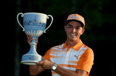 NORTON, MA - SEPTEMBER 07: Rickie Fowler of the United States with the winners trophy after winning Deutsche Bank Championship at TPC Boston on September 7, 2015 in Norton, Massachusetts.   Ross Kinnaird, Image: 257851016, License: Rights-managed, Restrictions: , Model Release: no, Credit line: Profimedia, AFP