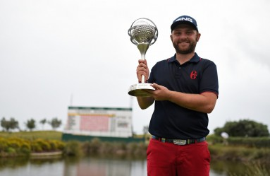 English golfer Andy Sullivan poses with his trophy at the end of the Portugal Masters golf tournament at Oceanico golf course in Vilamoura on October 18, 2015., Image: 262973787, License: Rights-managed, Restrictions: , Model Release: no, Credit line: Profimedia, AFP