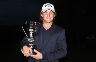 NAPA, CA - OCTOBER 18: Emiliano Grillo of Argentina celebrates with the trophy after winning in the final round of the Frys.com Open on October 18, 2015 at the North Course of the Silverado Resort and Spa in Napa, California.   Steve Dykes, Image: 263034358, License: Rights-managed, Restrictions: , Model Release: no, Credit line: Profimedia, AFP