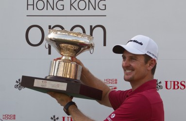 Justin Rose of England celebrates with the championship trophy after the final round of the Hong Kong Open at the Hong Kong Golf Club on October 25, 2015., Image: 263744996, License: Rights-managed, Restrictions: , Model Release: no, Credit line: Profimedia, AFP