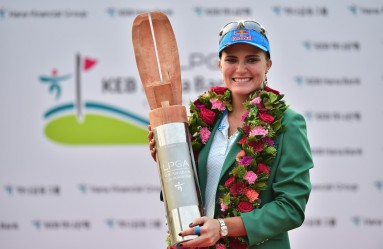 Lexi Thompson of the US poses with the trophy at the awards ceremony after winning the LPGA KEB Hana Bank Championship golf event at the Sky72 Golf Club in Incheon, west of Seoul, on October 18, 2015., Image: 262966372, License: Rights-managed, Restrictions: , Model Release: no, Credit line: Profimedia, AFP