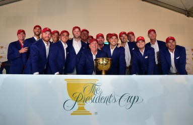 US Team captain Jay Haas (C) poses with his team at a conference room after the final round singles matches at the 2015 Presidents Cup at the Jack Nicklaus Golf Club in Incheon, west of Seoul, on October 11, 2015., Image: 262007861, License: Rights-managed, Restrictions: RESTRICTED TO EDITORIAL USE - STRICTLY NO COMMERCIAL USE, Model Release: no, Credit line: Profimedia, AFP