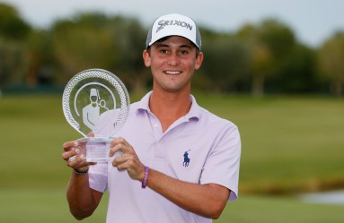 LAS VEGAS, NV - OCTOBER 25: Smylie Kaufman celebrates with the trophy after winning the final round of the Shriners Hospitals For Children Open on October 25, 2015 at TPC Summerlin in Las Vegas, Nevada.   Scott Halleran, Image: 263840135, License: Rights-managed, Restrictions: , Model Release: no, Credit line: Profimedia, AFP