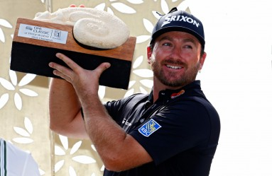 PLAYA DEL CARMEN, MEXICO - NOVEMBER 16: Graeme McDowell of Northern Ireland poses with the trophy after winning the three man playoff in the final round of the OHL Classic at the Mayakoba El Camaleon Golf Club on November 16, 2015 in Playa del Carmen, Mexico.   Jamie Squire, Image: 266457162, License: Rights-managed, Restrictions: , Model Release: no, Credit line: Profimedia, AFP