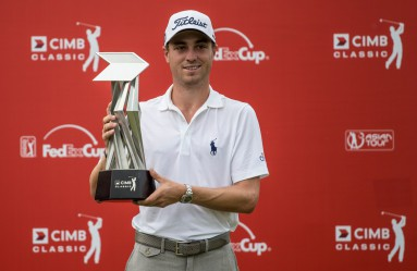 Justin Thomas of USA poses with the trophy after winning the Golf PGA Tour, CIMB Asia Pacific Classic tournament in Kuala Lumpur, Malaysia, 01 November 2015., Image: 264519361, License: Rights-managed, Restrictions: , Model Release: no, Credit line: Profimedia, TEMP EPA