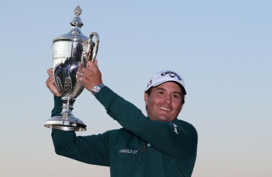 ST SIMONS ISLAND, GA - NOVEMBER 22: Kevin Kisner celebrates with the winner's trophy on the 18th green of the Seaside Course after winning The RSM Classic on November 22, 2015 in St Simons Island, Georgia.   Matt Sullivan, Image: 267323542, License: Rights-managed, Restrictions: , Model Release: no, Credit line: Profimedia, AFP