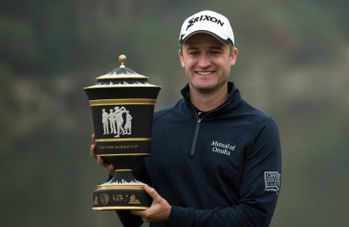 Russell Knox of Scotland poses with his trophy after winning the WGC-HSBC Champions golf tournament in Shanghai on November 8, 2015., Image: 265390604, License: Rights-managed, Restrictions: , Model Release: no, Credit line: Profimedia, AFP