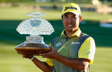 SCOTTSDALE, AZ - FEBRUARY 07: Hideki Matsuyama of Japan poses with the winners trophy on the 18th hole during the final round of the Waste Management Phoenix Open at TPC Scottsdale on February 7, 2016 in Scottsdale, Arizona.   Scott Halleran, Image: 273435941, License: Rights-managed, Restrictions: , Model Release: no, Credit line: Profimedia, AFP