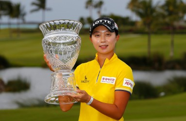PARADISE ISLAND, BAHAMAS - JANUARY 31: Hyo Joo Kim of South Korea poses with the trophy after the final round of the Pure Silk Bahamas LPGA Classic at the Ocean Club Golf Course on January 31, 2016 in Paradise Island, Bahamas.   Kevin C. Cox, Image: 272822696, License: Rights-managed, Restrictions: , Model Release: no, Credit line: Profimedia, AFP