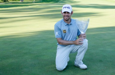 28.02.2016. Perth, Australia. ISPS HANDA Perth International Golf. Louis Oosthuizen winner of the tournament with the trophy., Image: 275641998, License: Rights-managed, Restrictions: , Model Release: no, Credit line: Profimedia, Actionplus