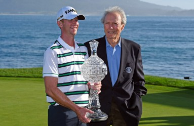 Vaughn Taylor holds the first place trophy while standing with Clint Eastwood after winning the AT&T Pebble Beach Pro-Am golf tournament in Pebble Beach, Calif., on Sunday, Feb. 14, 2016. Taylor finished with 17 under par to win the tournament by one stroke. Phil Mickelson came in second and Jonas Blixt finished third. (Photo by Jose Carlos Fajardo/Bay Area News Group/TNS) *** Please Use Credit from Credit Field ***, Image: 274088667, License: Rights-managed, Restrictions: *** World Rights *** US Newspapers Out ***, Model Release: no, Credit line: Profimedia, SIPA USA