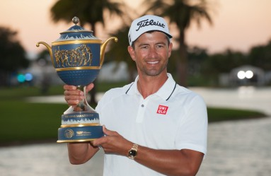 March 6, 2016: Adam Scott of Australia poses with the trophy on the 18th hole during the final round of the World Golf Championships-Cadillac Championship at Trump National Doral Blue Monster Course on March 6, 2016 in Doral, Florida. (Photo by Michele Eve Sandberg/Icon Sportswire), Image: 276470131, License: Rights-managed, Restrictions: Content available for editorial use, pre-approval required for all other uses., Model Release: no, Credit line: Profimedia, Corbis