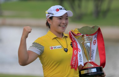 Ha Na Jang of South Korea poses for a photograph with he trophy after winning the HSBC Women's Champions golf tournament, with a score of 19 under par, at the Serapong course in Sentosa, Singapore, 06 March 2016. The HSBC Women's Champions golf tournament will run from 03 to 06 March 2016 and feature a prize purse of USD $1.5 million (EUR 1.38 million)., Image: 276364448, License: Rights-managed, Restrictions: , Model Release: no, Credit line: Profimedia, TEMP EPA