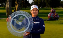 SAN FRANCISCO, CA - APRIL 24: Haru Nomura of Japan poses with the winner's trophy after winning the Swinging Skirts LPGA Classic presented by CTBC at the Lake Merced Golf Club on April 24, 2016 in San Francisco, California.   Robert Laberge, Image: 282546265, License: Rights-managed, Restrictions: , Model Release: no, Credit line: Profimedia, Getty images