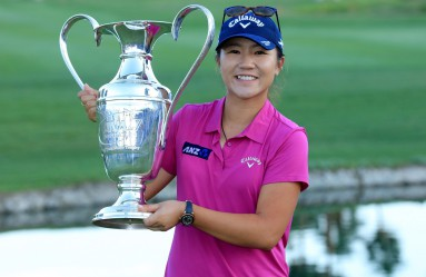RANCHO MIRAGE, CA - APRIL 03: Lydia Ko of New Zealand holds thr trophy after the final round of the 2016 ANA Inspiration at the Mission Hills Country Club on April 3, 2016 in Rancho Mirage, California.   David Cannon, Image: 280453657, License: Rights-managed, Restrictions: , Model Release: no, Credit line: Profimedia, AFP