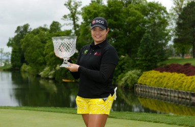 WILLIAMSBURG, VA - MAY 22: Ariya Jutanugarn of Thailand holds the championship trophy after winning the Kingsmill Championship presented by JTBC on the River Course at Kingsmill Resort on May 22, 2016 in Williamsburg, Virginia.   Hunter Martin, Image: 286395673, License: Rights-managed, Restrictions: , Model Release: no, Credit line: Profimedia, Getty images