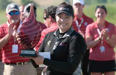May 8, 2016: Ariya Jutanugarn of Bangkok Thailand with her championship trophy after winning the final round of the Yokohama Tire LPGA Classic at the RTJ Capitol Hill Golf Course, Prattville, AL., Image: 283736060, License: Rights-managed, Restrictions: FOR EDITORIAL USE ONLY. Icon Sportswire (A Division of XML Team Solutions) reserves the right to pursue unauthorized users of this image. If you violate our intellectual property you may be liable for: actual damages, loss of income, and profits you derive from the use of this image, and, where appropriate, the costs of collection and/or statutory damages up to $150,000 (USD)., Model Release: no, Credit line: Profimedia, Newscom