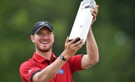 England's Chris Wood celebrates with the trophy after winning the golf PGA Championship at Wentworth Golf Club in Surrey, south west of London, on May 29, 2016., Image: 287774706, License: Rights-managed, Restrictions: RESTRICTED TO EDITORIAL USE, Model Release: no, Credit line: Profimedia, AFP