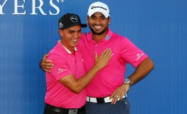 PONTE VEDRA BEACH, FL - MAY 15: Rickie Fowler (L) of the United States and Jason Day of Australia celebrate after Day won the final round of THE PLAYERS Championship at the Stadium course at TPC Sawgrass on May 15, 2016 in Ponte Vedra Beach, Florida.   Mike Ehrmann, Image: 284884587, License: Rights-managed, Restrictions: , Model Release: no, Credit line: Profimedia, Getty images