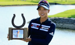 IRVING, TX - MAY 01: Jenny Shin poses with the trophy after her two-stroke victory at the Volunteers of America Texas Shootout at Las Colinas Country Club on May 1, 2016 in Irving, Texas.   Scott Halleran, Image: 283141900, License: Rights-managed, Restrictions: , Model Release: no, Credit line: Profimedia, Getty images
