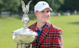 FORT WORTH, TX - MAY 29: Jordan Spieth poses with the trophy after winning the DEAN & DELUCA Invitational at Colonial Country Club on May 29, 2016 in Fort Worth, Texas.   Tom Pennington, Image: 287838561, License: Rights-managed, Restrictions: , Model Release: no, Credit line: Profimedia, Getty images
