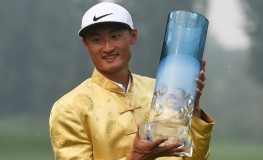 Li Haotong of China holds the trophy after winning the Volvo China Open golf tournament in Beijing on May 1, 2016., Image: 283080413, License: Rights-managed, Restrictions: , Model Release: no, Credit line: Profimedia, AFP