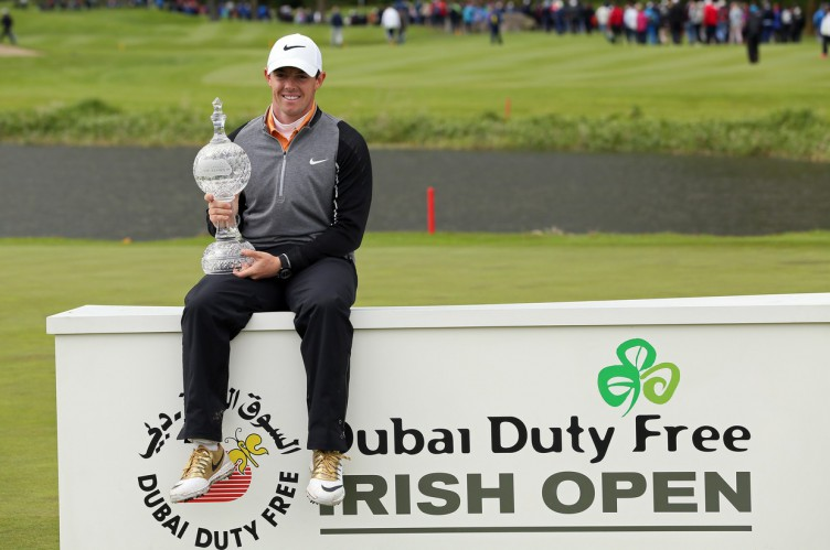 Northern Ireland's Rory McIlroy, poses with the trophy after his three shot victory in the Irish open golf tournament at The K Club, west of Dublin in Ireland on May 22, 2016. Tournament host Rory McIlroy hit two stunning approach shots in the closing three holes to end a six-month winless drought, capturing the Irish Open at the K Club on Sunday., Image: 286371798, License: Rights-managed, Restrictions: , Model Release: no, Credit line: Profimedia, AFP
