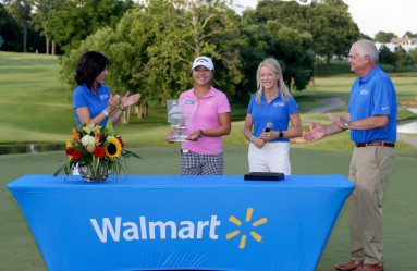 ROGERS, AR - JUNE 26: Lydia Ko of New Zealand is presented with the trophy on the 18th green after winning the Walmart NW Arkansas Championship Presented by P&G on June 26, 2016 at Pinnacle Country Club in Rogers, Arkansas.   Jamie Squire, Image: 292438841, License: Rights-managed, Restrictions: , Model Release: no, Credit line: Profimedia, Getty images