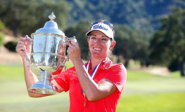 SAN MARTIN, CA - JULY 10: Brittany Lang poses with the trophy on the 18th green after defeating Anna Nordqvist of Sweden in a three hole playoff to win the U.S. Women's Open at CordeValle Golf Club on July 9, 2016 in San Martin, California.   Jonathan Ferrey, Image: 293767406, License: Rights-managed, Restrictions: , Model Release: no, Credit line: Profimedia, Getty images