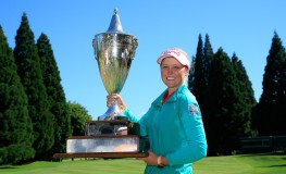 PORTLAND, OR - JULY 03: Brooke M. Henderson of Canada holds the trophy after winning the Cambia Portland Classic held at Columbia Edgewater Country Club on July 3, 2016 in Portland, Oregon.   Michael Cohen, Image: 293079137, License: Rights-managed, Restrictions: , Model Release: no, Credit line: Profimedia, Getty images