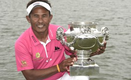 Thailand's Thongchai Jaidee poses with the trophy after winning the 100th French Golf Open on July 3, 2016 at Le Golf National in Guyancourt, near Paris., Image: 293046251, License: Rights-managed, Restrictions: , Model Release: no, Credit line: Profimedia, AFP