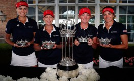 CHICAGO, IL - JULY 24: (L-R) Lexi Thompson, Cristie Kerr, Stacy Lewis and Gerina Piller of the United States pose with the champions trophy after winning the 2016 UL International Crown Champions at the Merit Club on July 24, 2016 in Chicago, Illinois.   Matt Sullivan, Image: 294903202, License: Rights-managed, Restrictions: , Model Release: no, Credit line: Profimedia, Getty images