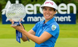 24/07/2016. Ladies European Tour 2016. Aberdeen Asset Management Ladies Scottish Open, Dundonald Links, Irvine, Scotland. 22-34 August. Isabelle Boineau of France with her trophy. Credit: Tristan Jones