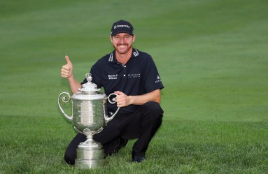 SPRINGFIELD, NJ - JULY 31: Jimmy Walker of the United States celebrates with the Wanamaker Trophy after winning the 2016 PGA Championship at Baltusrol Golf Club on July 31, 2016 in Springfield, New Jersey.   Andrew Redington, Image: 295727078, License: Rights-managed, Restrictions: , Model Release: no, Credit line: Profimedia, Getty images