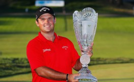 FARMINGDALE, NY - AUGUST 28: Patrick Reed poses with the trophy after winning The Barclays in the PGA Tour FedExCup Play-Offs on the Black Course at Bethpage State Park on August 28, 2016 in Farmingdale, New York.   Kevin C. Cox, Image: 298134818, License: Rights-managed, Restrictions: , Model Release: no, Credit line: Profimedia, Getty images
