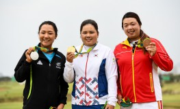 RIO DE JANEIRO, Aug. 20, 2016  South Korea's Park Inbee (C), Lydia Ko of New Zealand  (L) and China's Feng Shanshan attend the awarding ceremony of the women's round 4 of golf at the 2016 Rio Olympic Games in Rio de Janeiro, Brazil, on Aug. 20, 2016.  dh), Image: 297585687, License: Rights-managed, Restrictions: , Model Release: no, Credit line: Profimedia, Zuma Press - News