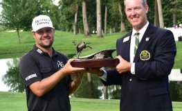 14 AUG 2016: John Deer Classic winner Ryan Moore, left,  is presented with the championship trophy by Paul Scranton, tournament chairman, after the final round of the John Deere Classic at TPC Deere Run in Silvis, Ill., Image: 296934109, License: Rights-managed, Restrictions: FOR EDITORIAL USE ONLY: Icon Sportswire (A Division of XML Team Solutions) reserves the right to pursue unauthorized users of this image. If you violate our intellectual property you may be liable for: actual damages, loss of income, and profits you deriv, Model Release: no, Credit line: Profimedia, Newscom