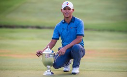 /Golfer Si Woo Kim with the trophy after winning the Wyndham Championship PGA Tour on at Sedgefield Country Club, in Greensboro, NC Wyndham Championship Golf, Greensboro, USA - 21 Aug 2016, Image: 297678019, License: Rights-managed, Restrictions: , Model Release: no, Credit line: Profimedia, TEMP Rex Features