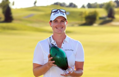 CAMBRIDGE, ON - SEPTEMBER 04: Caroline Masson of Germany celebrates with the Championship Trophy after winning the Manulife LPGA Classic at Whistle Bear Golf Club on September 4, 2016 in Cambridge, Canada.   Vaughn Ridley, Image: 298878450, License: Rights-managed, Restrictions: , Model Release: no, Credit line: Profimedia, Getty images