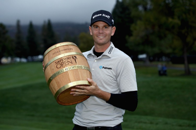 NAPA, CA - OCTOBER 16: Brendan Steele poses with the trophy after his winning round on the 18th hole during the final round of the Safeway Open at the North Course of the Silverado Resort and Spa on October 16, 2016 in Napa, California.   Ezra Shaw, Image: 303005859, License: Rights-managed, Restrictions: , Model Release: no, Credit line: Profimedia, Getty images