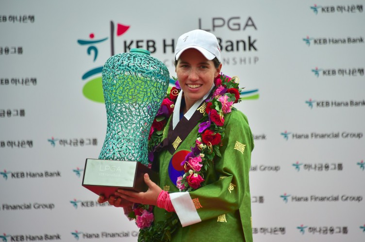 Carlota Ciganda of Spain poses with the trophy during the awards ceremony after winning the LPGA KEB Hana Bank Championship golf event at the Sky72 Golf Club in Incheon, west of Seoul, on October 16, 2016., Image: 302952255, License: Rights-managed, Restrictions: , Model Release: no, Credit line: Profimedia, AFP