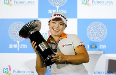 Ha Na Jang of South Korea celebrates with her trophy after winning the Fubon LPGA Taiwan Championship in New Taipei city, Taiwan, 09 October 2016., Image: 302355390, License: Rights-managed, Restrictions: , Model Release: no, Credit line: Profimedia, TEMP EPA