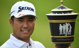 Hideki Matsuyama of Japan poses with the winner's trophy after the final round of the World Golf Championships-HSBC Champions golf tournament in Shanghai on October 30, 2016., Image: 304277297, License: Rights-managed, Restrictions: , Model Release: no, Credit line: Profimedia, AFP