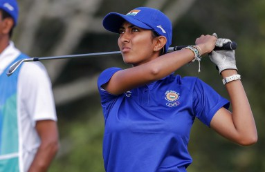 Aditi Ashok of India hits from the fourth tee during the second round of the Rio 2016 Olympic Games women's golf tournament at the Olympic Golf Course in Barra da Tijuca, Rio de Janeiro, Brazil, 18 August 2016., Image: 297318817, License: Rights-managed, Restrictions: , Model Release: no, Credit line: Profimedia, TEMP EPA