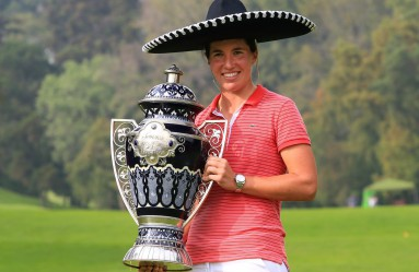 MEXICO CITY, MEXICO - NOVEMBER 13: Carlota Ciganda of Spain celebrates with the winners trophy following the final round of the Citibanamex Lorena Ochoa Invitational Presented By Aeromexico and Delta at Club de Golf Mexico on November 13, 2016 in Mexico City, Mexico.   Vaughn Ridley, Image: 305515597, License: Rights-managed, Restrictions: , Model Release: no, Credit line: Profimedia, Getty images
