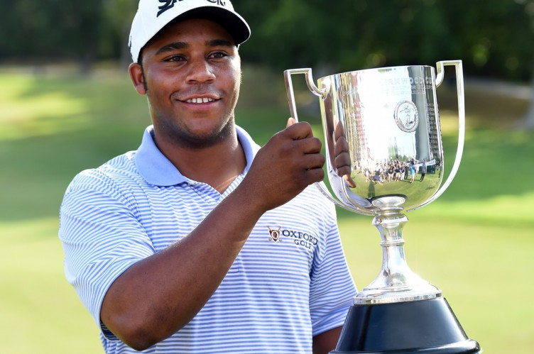 US golfer Harold Varner III holds the Joe Kirkwood trophy after winning the Australian PGA Championship at the Royal Pines resort on the Gold Coast, Queensland, Australia, 04 December 2016., Image: 307481065, License: Rights-managed, Restrictions: AUSTRALIA AND NEW ZEALAND OUT  EDITORIAL USE ONLY, Model Release: no, Credit line: Profimedia, TEMP EPA