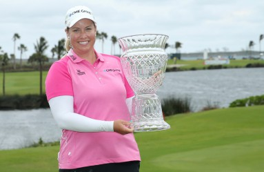 PARADISE ISLAND, BAHAMAS - JANUARY 29: Brittany Lincicome of the United States poses with the trophy after the final round of the Pure Silk Bahamas LPGA Classic on January 29, 2017 in Paradise Island, Bahamas.   Maddie Meyer, Image: 313748580, License: Rights-managed, Restrictions: , Model Release: no, Credit line: Profimedia, Getty images
