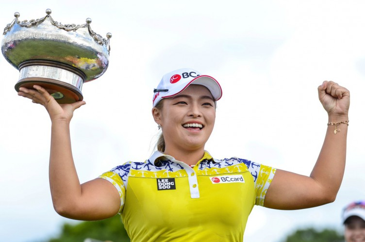 Jang Ha-Na of South Korea poses with the winner's trophy after winning the Australian Open golf tournament at the Royal Adelaide Golf Club in South Australia on Febuary 19, 2017. South Korea's Jang Ha-Na stormed to a three-shot victory in the Australian Open at Royal Adelaide with a blistering eagle-birdie finish on February 19., Image: 321452359, License: Rights-managed, Restrictions: -- IMAGE RESTRICTED TO EDITORIAL USE - STRICTLY NO COMMERCIAL USE --, Model Release: no, Credit line: Profimedia, AFP